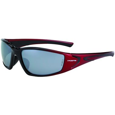 Crossfire® RPG™ Safety Glasses, Shiny Black/Pearl Red Frame, Silver Mirror Lens