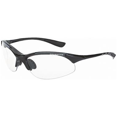 Crossfire® Cobra™ Safety Glasses, Shiny Black Frame, Clear Lens