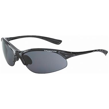 Crossfire® Cobra™ Safety Glasses, Crystal Black Frame, Smoke Lens