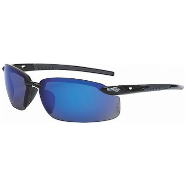 Crossfire® ES5™ Safety Glasses, Shiny Black Frame, Blue Mirror Lens