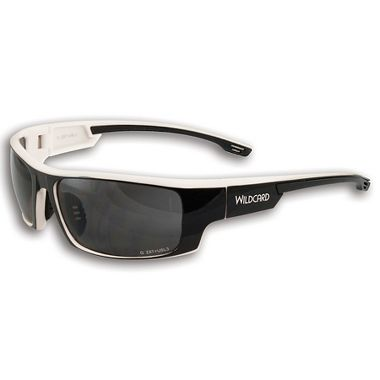Wildcard Safety Glasses, Black Frame w/ White Accent, Gray Mirror Lens