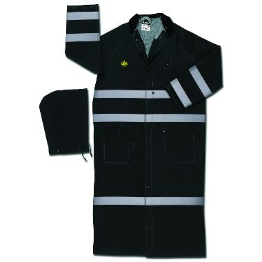 "MCR Classic Plus Black 60"" PVC Rain Coat with Reflective Stripes, FR"