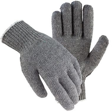 Gray String Knit Gloves, Men's Cotton Blend