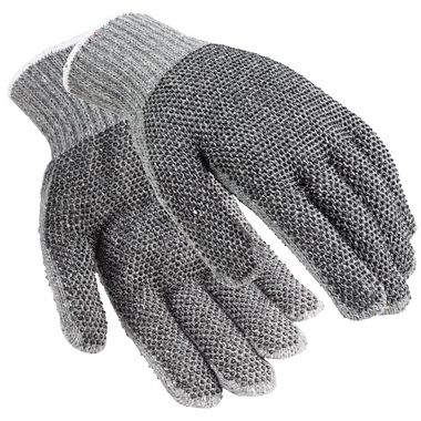 Gray String Knit Gloves with Plastic Dots, Men's Cotton Blend