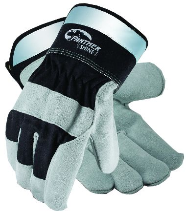 Panther Shine™ Leather Palm Gloves, Reflective Safety Cuff
