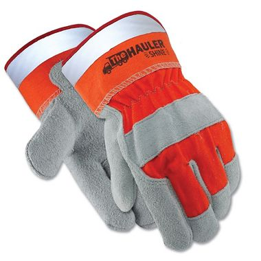 Hauler Shine™ Leather Palm Gloves, Reflective Safety Cuff
