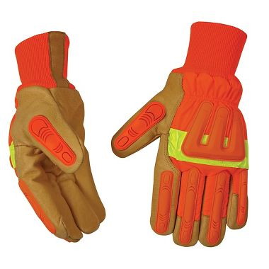 Hi Viz Insulated Pigskin Impact Protection Gloves With Knit Wrist
