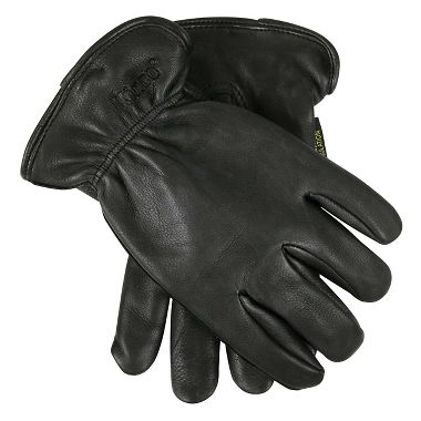 Insulated Black Grain Deerskin Leather Driver Gloves