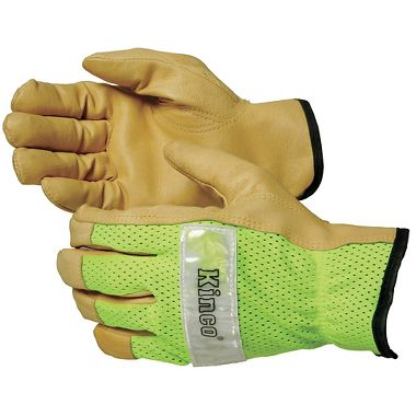 Hi Viz Mesh Back Grain Pigskin Driver Gloves