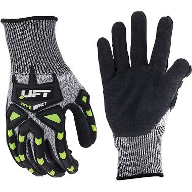 Lift Safety FiberWire™ Cut Protection Impact Gloves, Crinkled Latex Palm