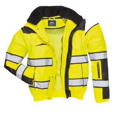 Hi Viz Class 3 Classic Bomber Jacket with Detachable Hood