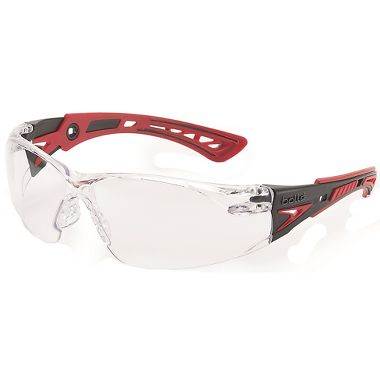 Bolle Rush+ Safety Glasses with Clear Anti-Fog Lens, Black/Red Frame