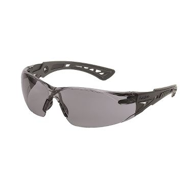 Bolle Rush+ Safety Glasses with Smoke Anti-Fog Lens, Black/Gray Frame