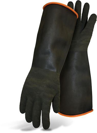 Boss® Chlorinated Latex 50 Mil Heavy Duty Gloves, Crinkled Latex Grip, 18""
