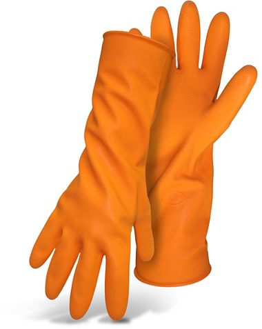 "Boss® Latex 28Mil Orange Flock Lined Embossed Grip, 13"" Gloves"