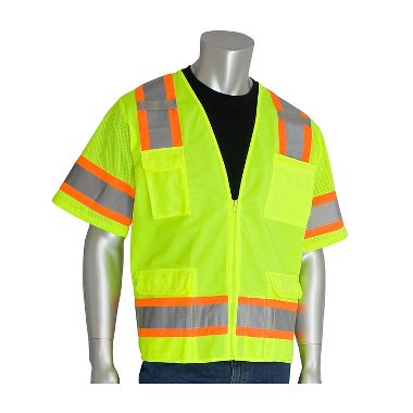 PIP 303-0500 Class 3 Safety Vest, Solid Front, Mesh Back