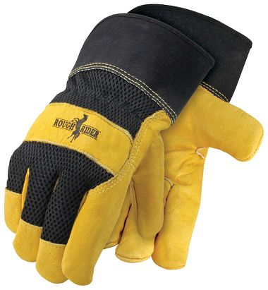 Rough Rider® Mesh Back, Grain Leather Palm Gloves, Safety Cuff