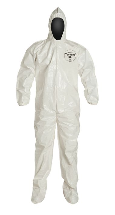 DuPont™ Tychem® 4000 Coverall. SL122B, Bound Seams, Elastic Wrists & Attached Hood & Boots