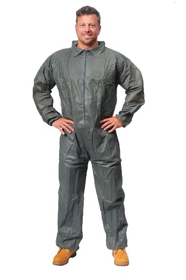 Safe N' Clean™ Gray Economy Disposable Coveralls, Elastic Wrists & Ankles, Case of 25