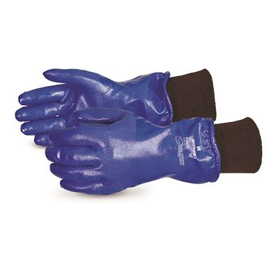 North Sea Winter Nitrile Coated, Fleece Lined Insulated Gloves, Knit Cuff, 11""