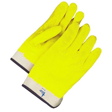 Bob Dale BDG® Hi Viz Fleece Lined Double Dip PVC/Nitrile Glove, Smooth Finish, Safety Cuff