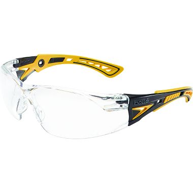 Bollé® 40243 Rush+ Safety Glasses, Black/Yellow Frame, Clear Anti-fog Lens