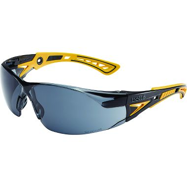 Bollé® 40244 Rush+ Safety Glasses, Black/Yellow Frame, Smoke Anti-fog Lens
