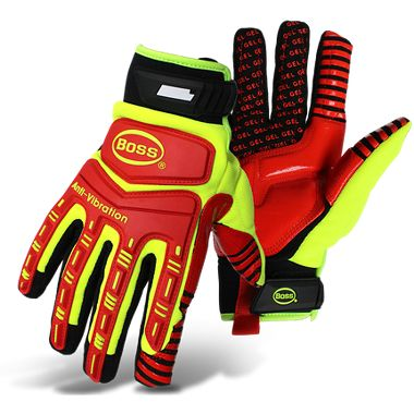 Boss® 1JM770 High-Viz Padded Gel Palm, Impact and Vibration Protection Gloves