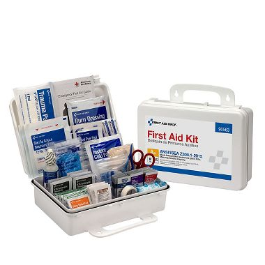 First Aid Only™ 25 Person Bulk ANSI 2015 A, First Aid Kit, Plastic Case with Dividers