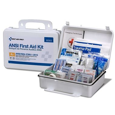 First Aid Only™ 25 Person Bulk ANSI 2015 A+, First Aid Kit, Plastic, Weatherproof