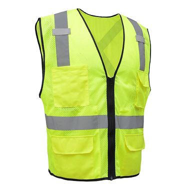 GSS ANSI Class 2 Mesh Utility Safety Vest with X Back and Zipper Closure