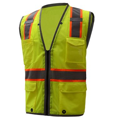 GSS Hyper-Lite ANSI Class 2 Mesh Safety Vest, Reflective Piping, Zip Front