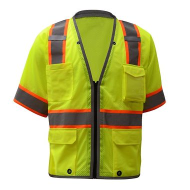 GSS ANSI Class 3 Hyper-Lite Mesh Vest and Zipper Closure