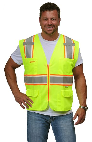 VizLite® DT A202 Alpha Work Wear Surveyors Class 2 Vest, Glows in the Dark