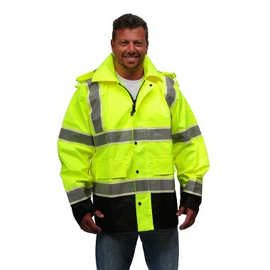 VizLite DT A268 Alpha Work Wear ANSI Class 3 Rain Jacket, Glows in the Dark