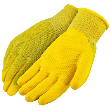 Yellow Polyester Gloves with Textured Latex Coated Palm