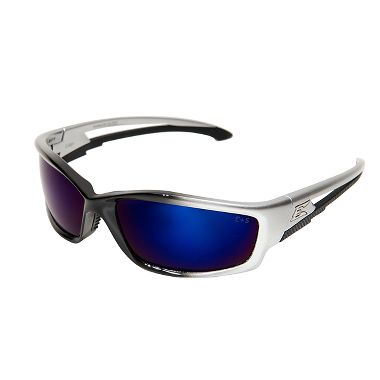 Edge® SK118 Kazbek Safety Glasses,  Silver Frame, Blue Mirror Lens