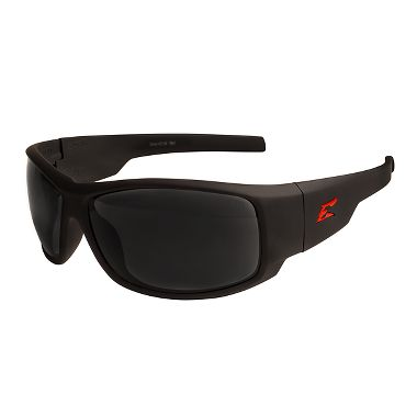 Edge® HZ136 Caraz Torque Safety Glasses, Black/Red Frame, Smoke Lens