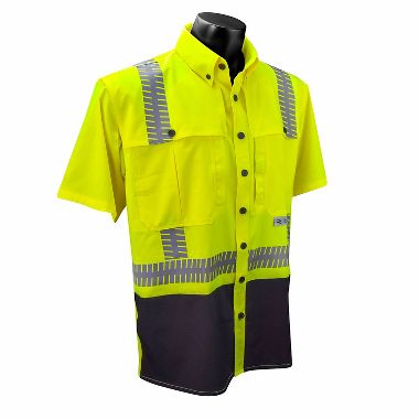 Radians® SW11 Type R Class 2 Hi Viz Stretch Ripstop Wind Shirt, Short Sleeves