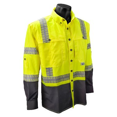 Radians® SW21 Type R Class 3 Hi Viz Stretch Ripstop Wind Shirt, Long Sleeves