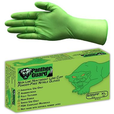 Panther-Guard® Neon Lime, 6 mil Powder Free Long Cuff Disposable Nitrile Gloves