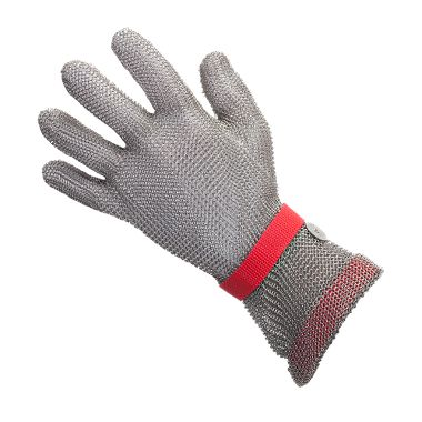 US Mesh USM-1305, 5 Finger Metal Mesh Glove, Extended Cuff, Silicone Strap, Each