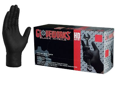 Ammex® GWBN4 Gloveworks® Diamond Textured 6 Mil Powder Free Black Nitrile Gloves