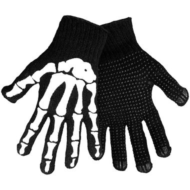 Black Knit Skeleton Gloves with Grip Dot Palms