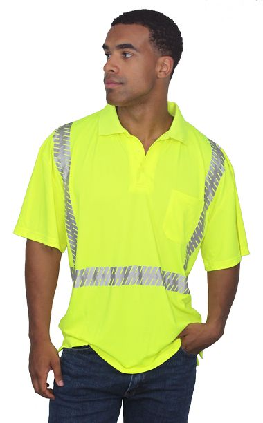 Illuminator™ Class 2 Super Wicking Polo Shirt with Segmented Reflective Tape