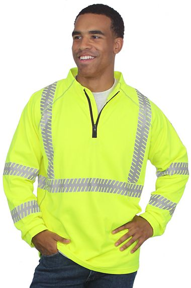 Illuminator™ Class 3 <br />Hi-Viz 1/4 Zip Pull-Over Fleece-Lined Sweatshirt