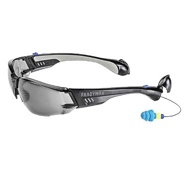 Soundshield™ Construction Safety Glasses, Built-in Earplugs, Gray Anti-Fog Lens