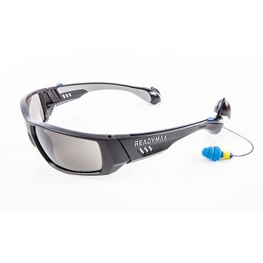 Soundshield™ Fashion Safety Glasses, Built-in Earplugs, Gray Anti-Fog Lens