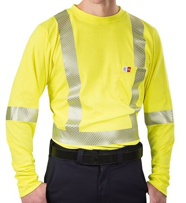 Big Bill® RT5PY8  ANSI Class 3 Long Sleeve T-Shirt, Meets HRC2 / NFPA 70E, Made in USA