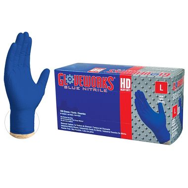 Ammex® GWRBN Gloveworks® Diamond Textured 6 Mil Powder Free Royal Blue Nitrile Gloves